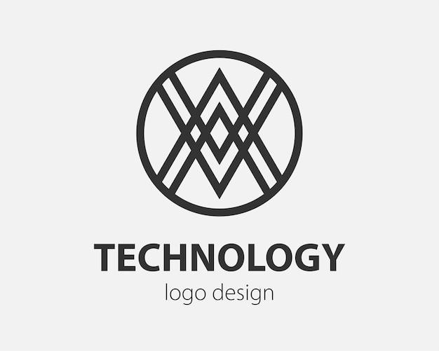 원 안에 기하학적 벡터 로고입니다. 나노 기술을위한 하이테크 스타일 로고 타입