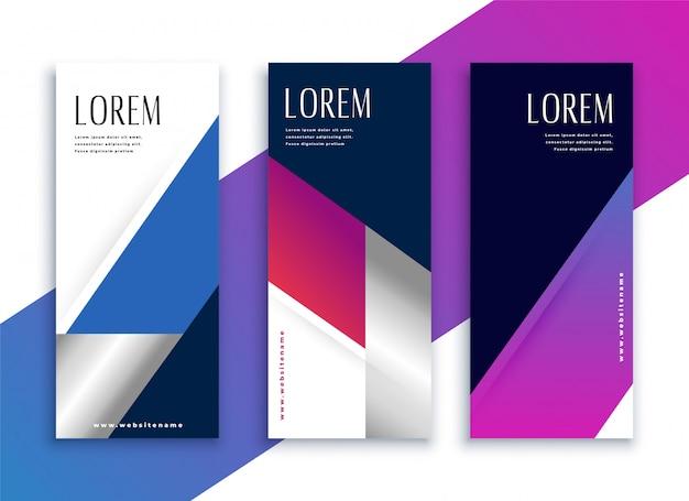 Bandiere verticali moderne stile geometrico vibrante di affari