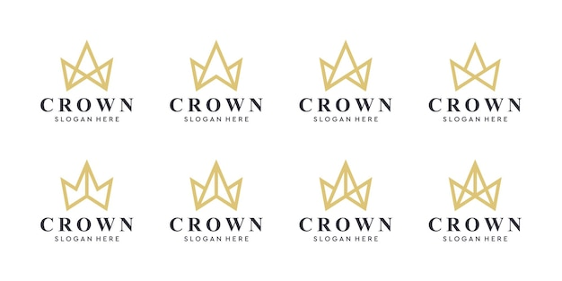 Геометрический винтажный творческий шаблон вектора дизайна логотипа конспекта короны. урожай корона логотип королевский король королева концепции символ логотип концепции значок.
