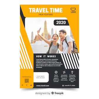 Geometric vivid travel flyer template with photo