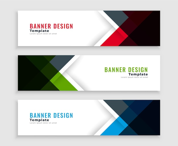 Geometric web business banners template design