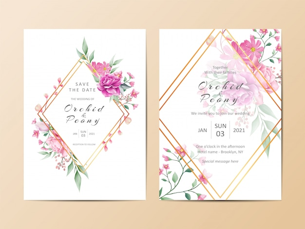 Geometric wedding invitation card template set of watercolor floral