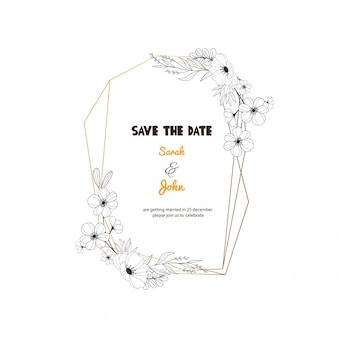 Geometric wedding invitation frame