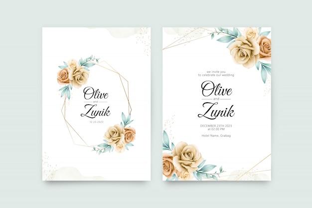 黄色いバラの水彩画と幾何学的な結婚式の招待状