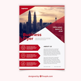 幾何学的な白と赤のビジネスチラシのデザイン
