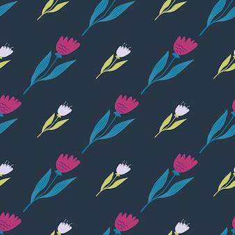幾何学的なワイルドフラワーのシームレスなパターン。装飾的な花飾り。エレガントな植物のデザイン。生地、テキスタイルプリント、ラッピング、カバーに。かわいいベクトルイラスト。