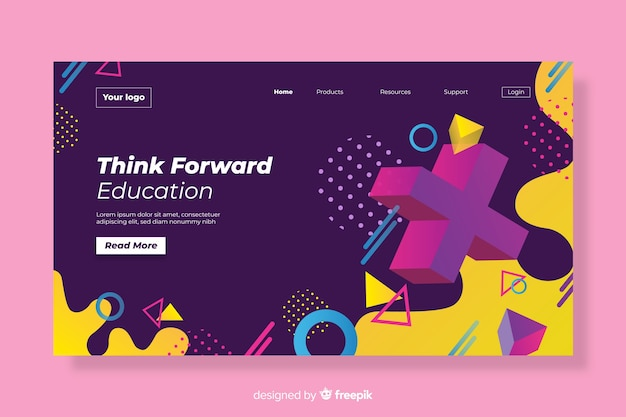 Geometric with fluid shapes landing page