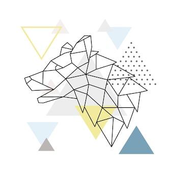 三角形の背景に幾何学的なオオカミのシルエット