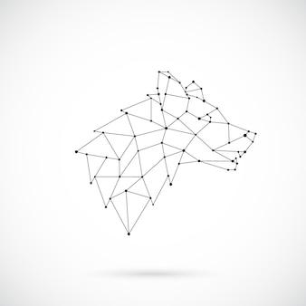 幾何学的なオオカミのシルエット