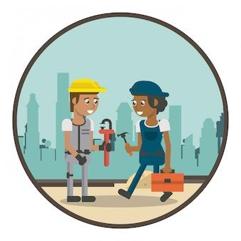 幾何学的な労働者の漫画