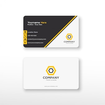 Geometric yellow black business card