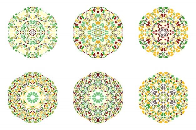 Geometrical abstract ornate round floral mandala logo set