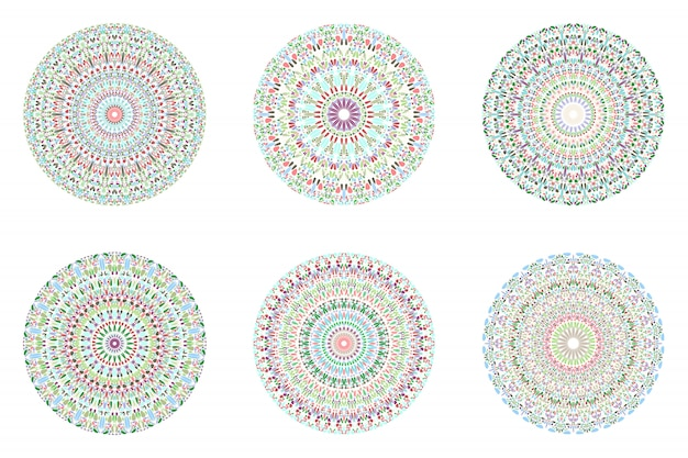 Geometrical abstract round circular petal pattern mandala set