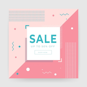 Geometrical abstract sale banner template