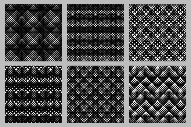 Geometrical abstract seamless diagonal square pattern background set
