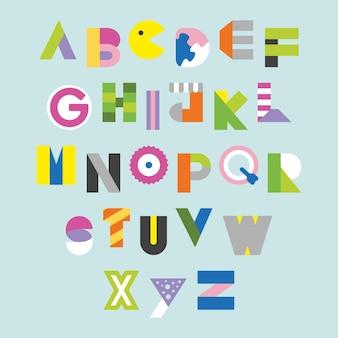 장식을 위한 기하학적이고 현대적인 알파벳 디자인