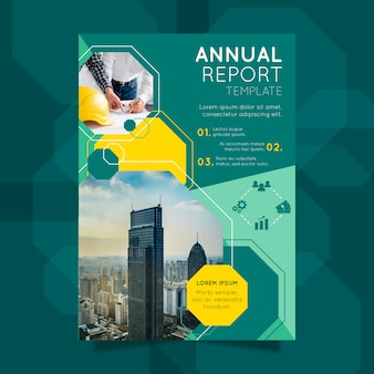 Geometrical annual report with photo