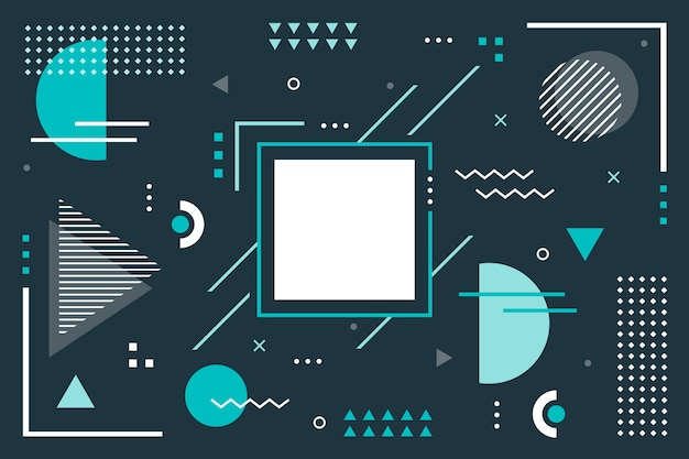 Geometrical background with flat shapes