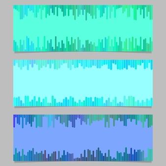 幾何学的バナーテンプレートデザインセット - 縦線からの水平ベクトルグラフィックコレクション