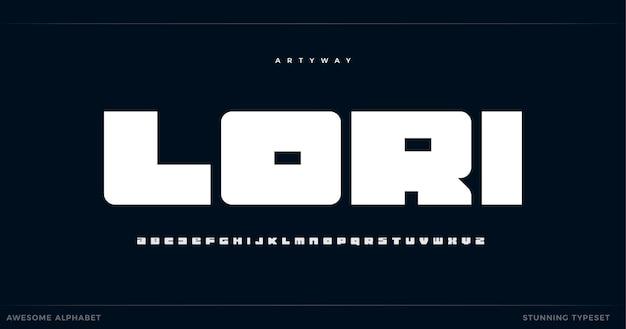 Geometrical bold alphabet heavy square font minimalist type for gym logo poster headline modern