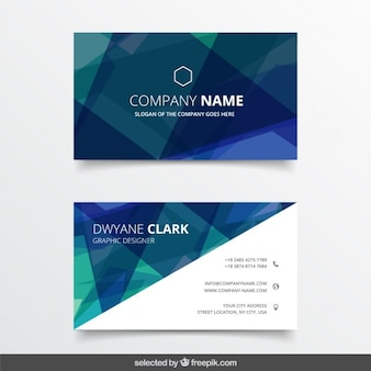 Geometrical business card in blue and green tones