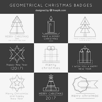 Геометрическая коллекция рождественских значки