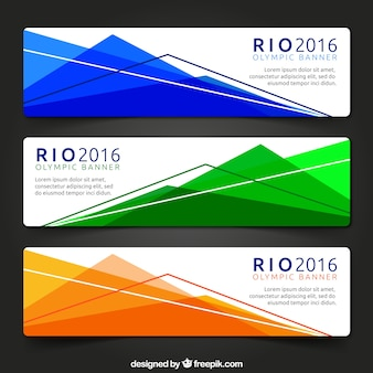 Geometrical colors banners of rio 2016
