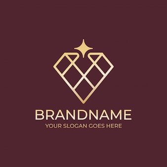 Geometrical diamond jewelry logo