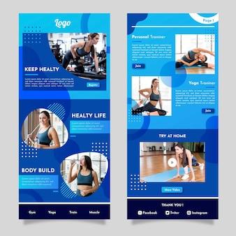 Modello di email fitness geometrico