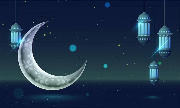 Geometrical floral decorative shining moon and lantern on night