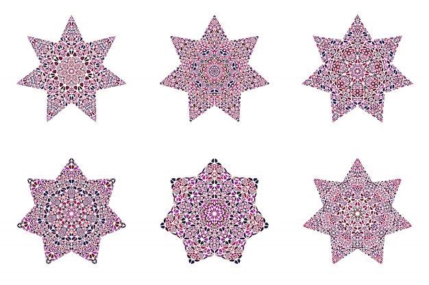 기하학적 꽃 장식 스타 기호 세트
