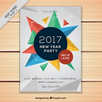 Geometrical flyer for 2017 new year party