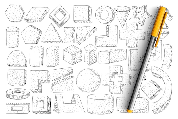 幾何学的な形や形の落書きセット。分離された手描きの立方体、円、円弧、三角形、十字、その他の形式のジオメトリのコレクション