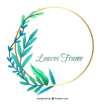 Geometrical golden frame with watercolor leaves