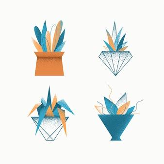 Geometrical grain textured modern   icons set of indoor plants in pots.