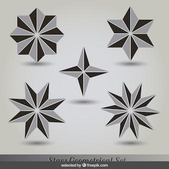 Geometrical grey and black stars set