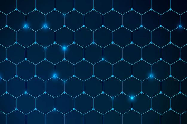 Fondo blu modellato a nido d'ape geometrico