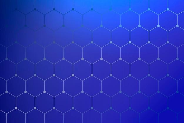 幾何学的なハニカムパターンの青い背景