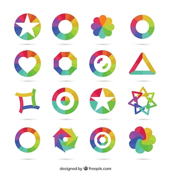 Geometrical icons in rainbow tones