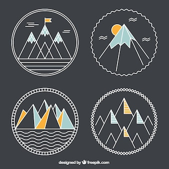 Geometrical mountains badges