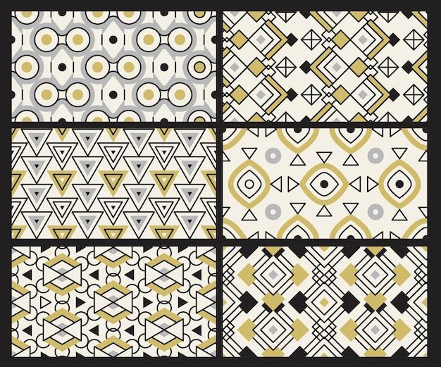 기하학적 패턴. 현대 텍스처 직물 삼각형 사각형 라운드 섬유 원활한 배경.