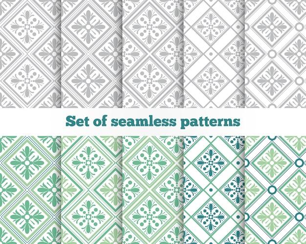 幾何学的なシームレスパターン。グレー、グリーン、タイル。