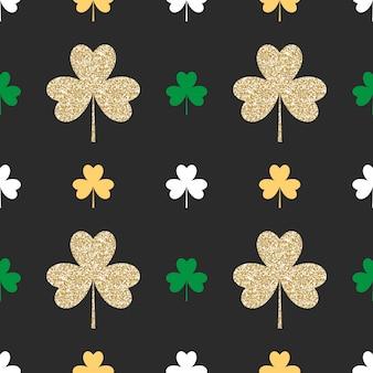 Geometrical seamless pattern with golden shamrocks on black background