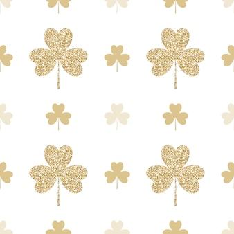 Geometrical seamless pattern with golden shamrocks on white background