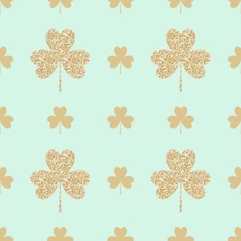 Geometrical seamless pattern with golden shamrocks