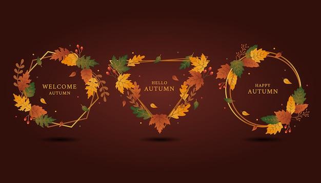 Geometrical shape of legant golden frame of autumn greeting set