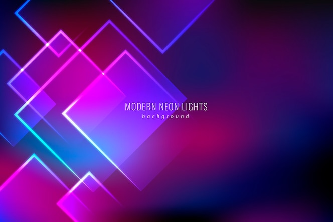 Geometrical shapes neon lights background