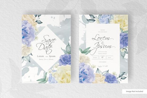 Геометрическое свадебное приглашение с акварельными цветами и всплесками