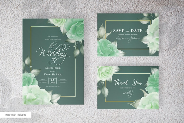 Geometrical wedding invitation   with watercolor floral and splash