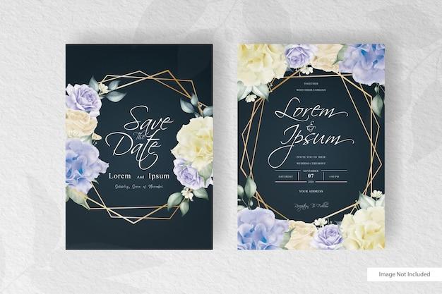 Геометрическое свадебное приглашение с акварельной цветочной